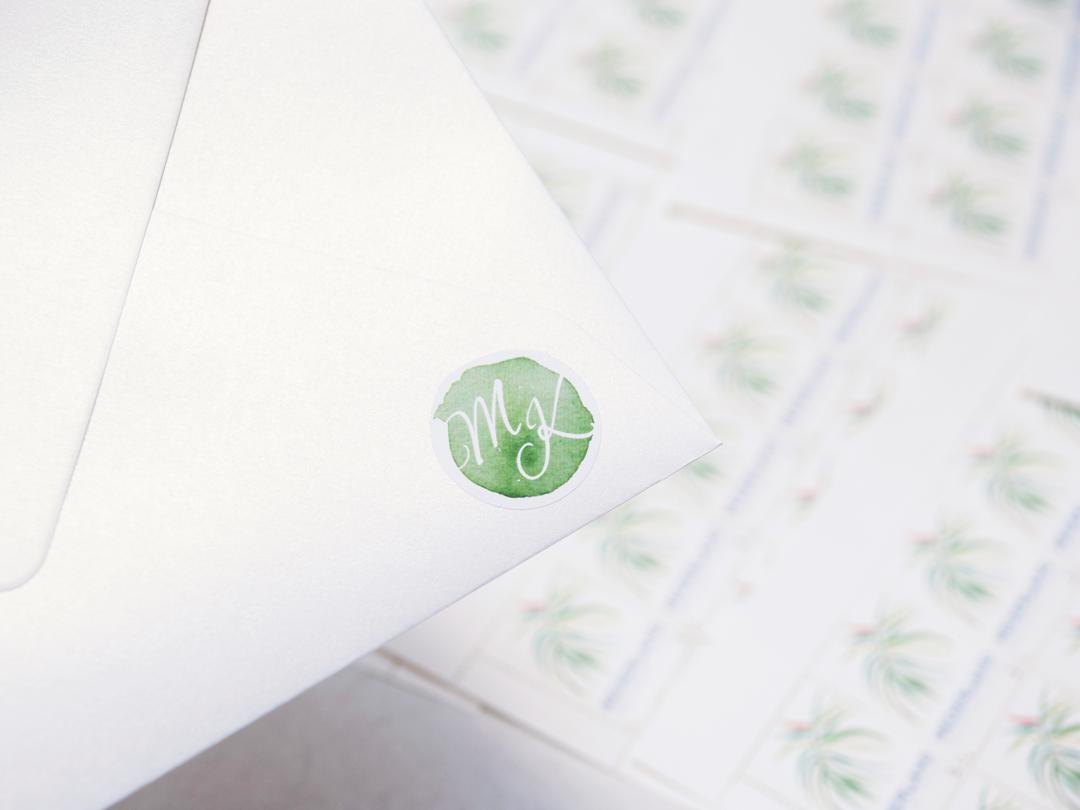 Trouwkaart tropisch envelop