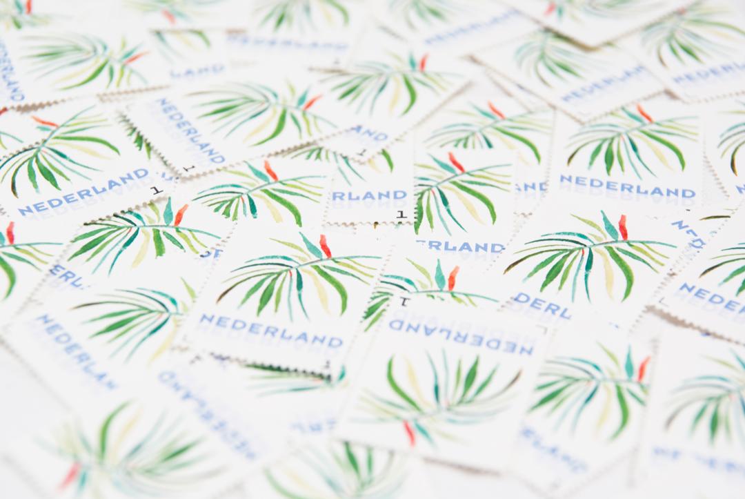 Trouwkaart tropisch postzegel